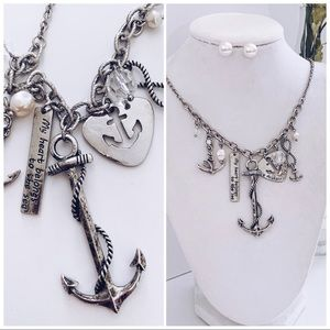 NEW Beautiful Burnished Silver ANCHOR Necklace Set